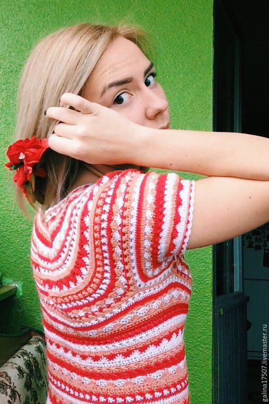 Платья ручной работы. Ярмарка Мастеров - ручная работа. Купить Полосатое вязанное платье. Handmade. Полосатый, беж, разноцветный