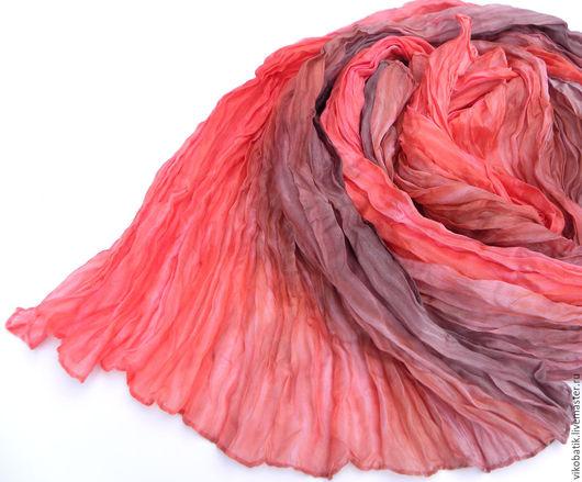 Стильный палантин. Подарок женщине, девушке.Шелковый шарф. Палантин шелковый. Нежный коралловый. Пепельный. Бохо.