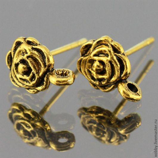 Основа для сережек гвоздиков пуссеты Роза с петелькой для крепления подвески Материал сплав с покрытием Цвет Античное золото