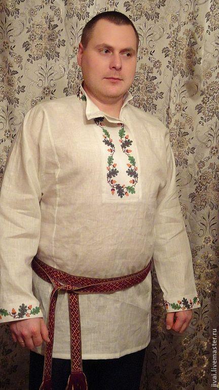 Этническая одежда ручной работы. Ярмарка Мастеров - ручная работа. Купить рубаха мужская Дуб. Handmade. Белый, рубаха мужская
