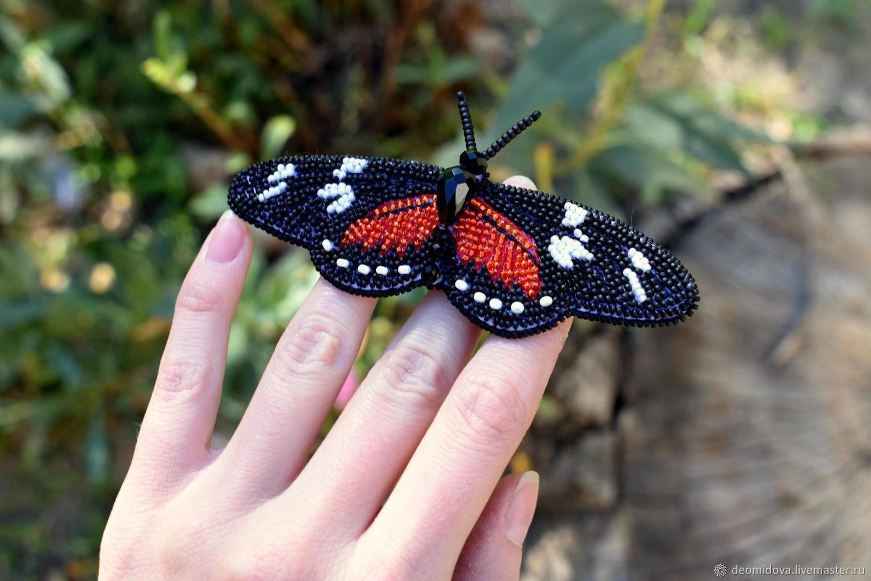 Бабочка-брошь Черно-красно-белая, Брошь-булавка, Новочеркасск,  Фото №1