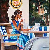 """Картины ручной работы. Ярмарка Мастеров - ручная работа Картина маслом """"Городское кафе"""". Handmade."""