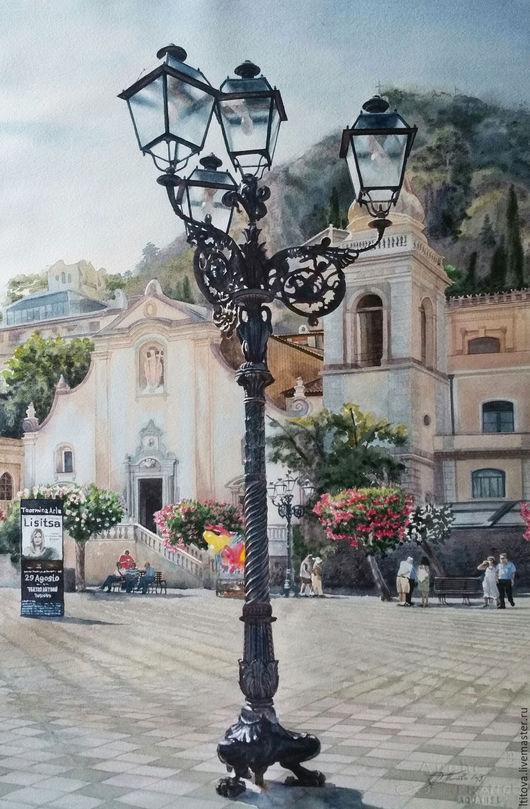 """Город ручной работы. Ярмарка Мастеров - ручная работа. Купить акварель """"Piazza IX Aprile. Taormina. Sicily"""". Handmade. Голубой"""
