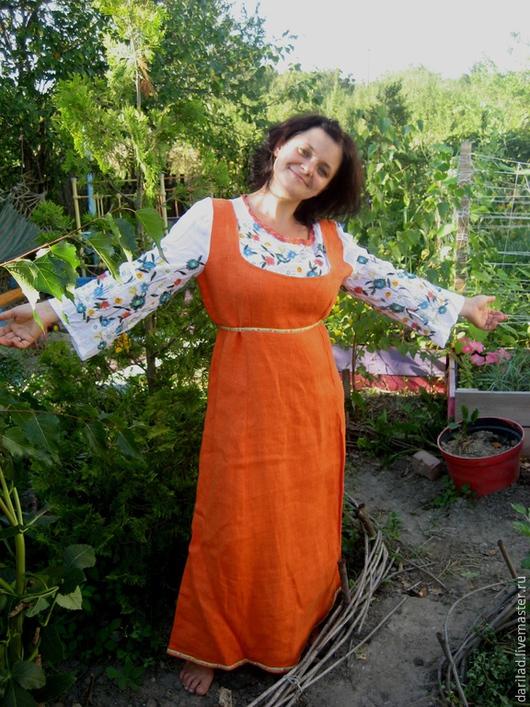 """Платья ручной работы. Ярмарка Мастеров - ручная работа. Купить Скидка 20% Платье""""Вышивка"""". Handmade. Оранжевый, платье на заказ"""