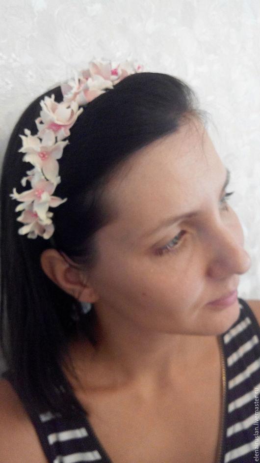 Диадемы, обручи ручной работы. Ярмарка Мастеров - ручная работа. Купить Ободок с цветками жасмина. Handmade. Ободок для волос
