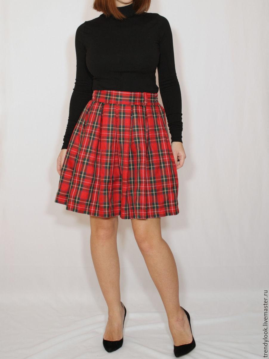Купить юбку шотландку в складку