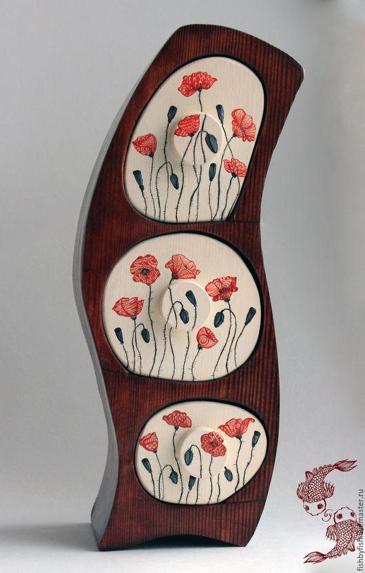 """Мини-комоды ручной работы. Ярмарка Мастеров - ручная работа. Купить Комодик """"Маки"""". Handmade. Комбинированный, Мебель, дерево, воск"""