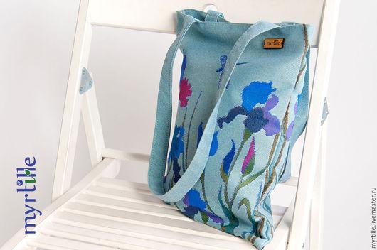 Сумки для ноутбуков ручной работы. Ярмарка Мастеров - ручная работа. Купить Летняя сумка из гобелена Ирисы. Handmade. Голубой