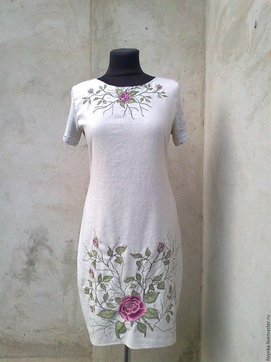 Платья ручной работы. Ярмарка Мастеров - ручная работа. Купить Платье льняное с вышивкой. Handmade. Серый, машинное вязание на заказ