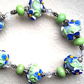 """Украшения ручной работы. Ярмарка Мастеров - ручная работа Браслет """"Синие Цветы"""". Handmade."""
