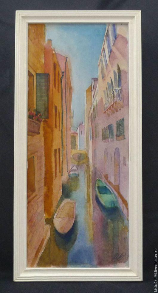 небольшая  картина акварелью виды Венеции каналы Венеции в деревянной раме для украшения интерьера недорогой подарок на любой случай купить в Питере акварельный рисунок