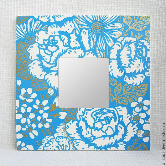 """Зеркала ручной работы. Ярмарка Мастеров - ручная работа. Купить """"Пионовый сад"""". Handmade. Цветы, бело-голубой"""