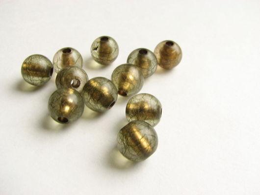 Для украшений ручной работы. Ярмарка Мастеров - ручная работа. Купить Бусина акриловая матовая шарик оливковый маленький. Handmade.