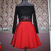 Одежда ручной работы. Ярмарка Мастеров - ручная работа Костюм кружевной кроп топ и юбка с удлинением. Handmade.