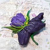 Украшения ручной работы. Ярмарка Мастеров - ручная работа Брошь- заколка кожа Фиолетовый Ирис. Handmade.