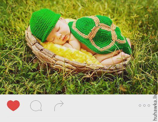 """Для новорожденных, ручной работы. Ярмарка Мастеров - ручная работа. Купить аксессуары для фотосесссии новорожденных """"ЧЕРЕПАШКА"""". Handmade. Комбинированный, для фотосессии"""