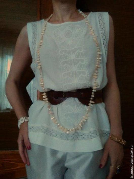 Блузки ручной работы. Ярмарка Мастеров - ручная работа. Купить топ белый. Handmade. Белый, блузка из хлопка, белая вышивка