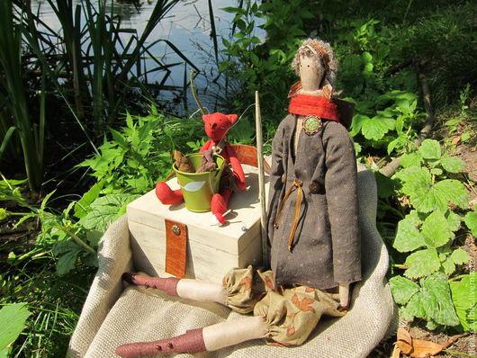 """Куклы Тильды ручной работы. Ярмарка Мастеров - ручная работа. Купить Тильда и кот """"На рыбалку!"""" (Для Олеси). Handmade."""