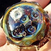 Rings handmade. Livemaster - original item Ring in the Lunar garden-lampwork Murano,silver,bronze. Handmade.