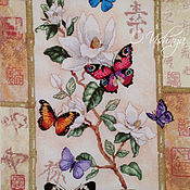 "Картины и панно handmade. Livemaster - original item Embroidered picture ""Butterfly on a flower."". Handmade."