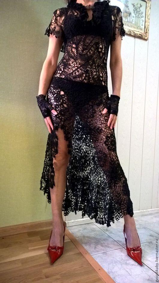 Платья ручной работы. Ярмарка Мастеров - ручная работа. Купить Платье вязаное крючком, ирландское кружево.. Handmade. Черный