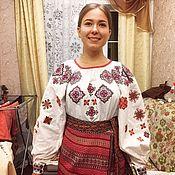 Русский стиль handmade. Livemaster - original item Women`s shirt with embroidery Hoop.. Handmade.