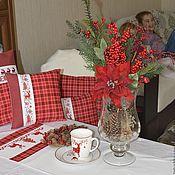 Для дома и интерьера ручной работы. Ярмарка Мастеров - ручная работа Комплект новогоднего текстиля с вышивкой. Handmade.
