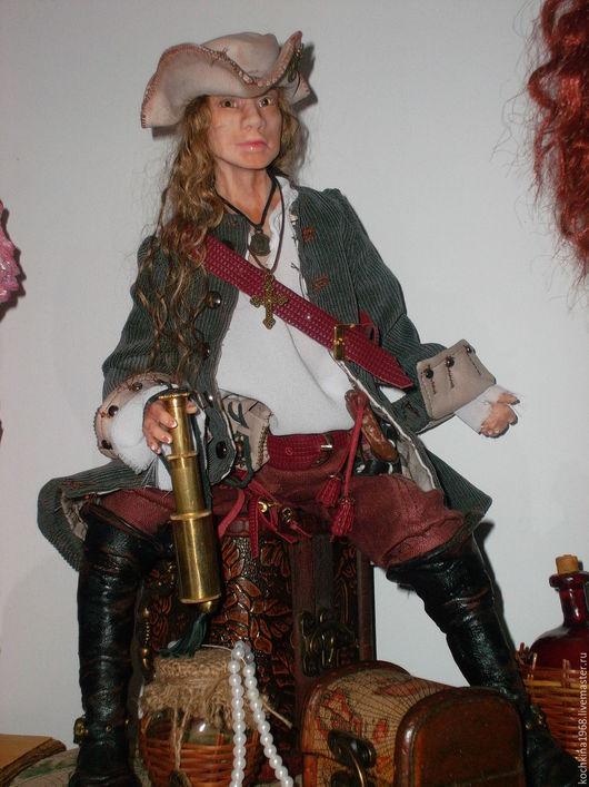 Коллекционные куклы ручной работы. Ярмарка Мастеров - ручная работа. Купить Пират.. Handmade. Бежевый, пиратский сундук, трессы