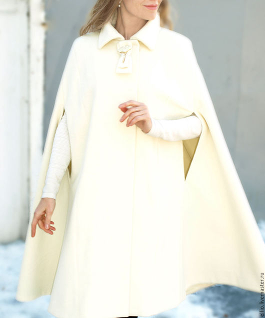Верхняя одежда ручной работы. Ярмарка Мастеров - ручная работа. Купить Пальто кейп  из шерсти с кашемиром молочный. Handmade. Разноцветный