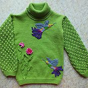 Работы для детей, handmade. Livemaster - original item Tunic Kolibri children`s knitting sweater for girls. Handmade.