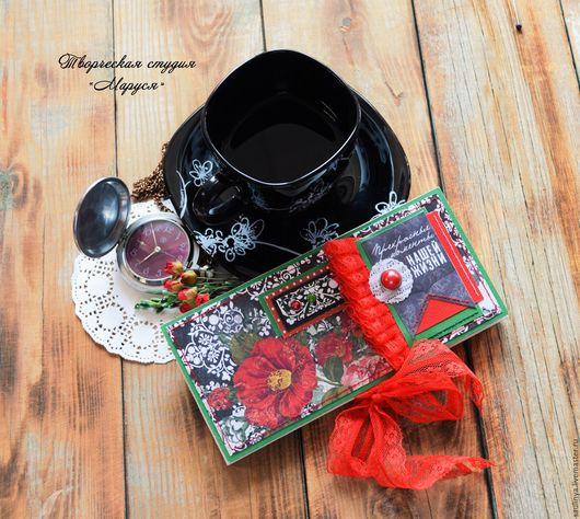 """Открытки для женщин, ручной работы. Ярмарка Мастеров - ручная работа. Купить Открытка- шоколадница """"Прекрасные моменты"""". Handmade. Черный"""