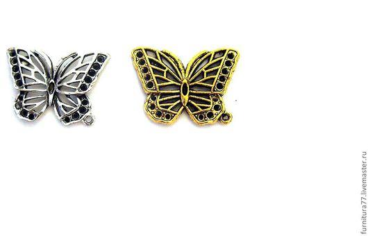 Для украшений ручной работы. Ярмарка Мастеров - ручная работа. Купить Подвеска Бабочка- 2 ( золото, серебро). Handmade.