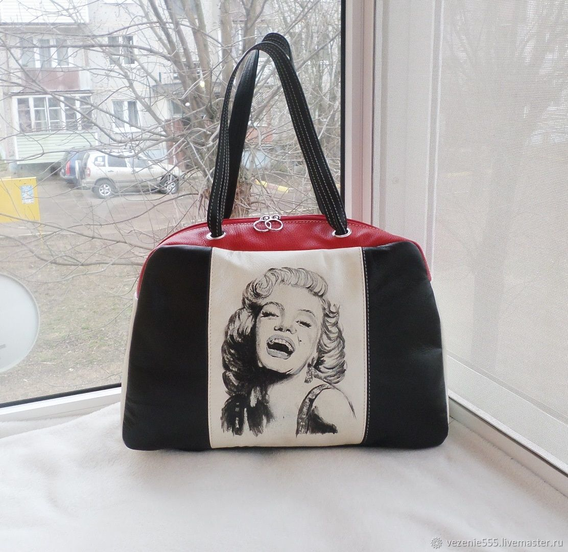 Bag leather double-sided with painting to order for Julia, Classic Bag, Noginsk,  Фото №1