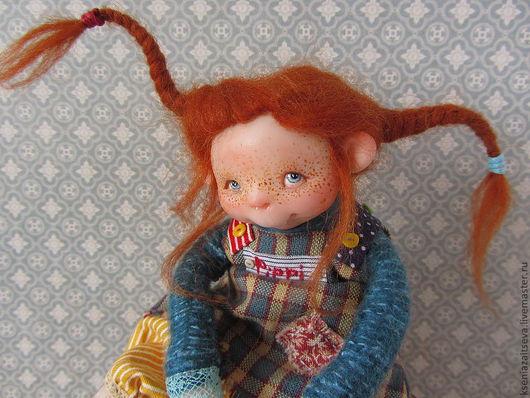 """Коллекционные куклы ручной работы. Ярмарка Мастеров - ручная работа. Купить """" Пеппи и Конь в пальто и  Бонус"""". Handmade."""