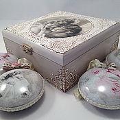 """Подарки к праздникам ручной работы. Ярмарка Мастеров - ручная работа Набор елочных игрушек в коробе  """"Ангелы винтаж"""". Handmade."""