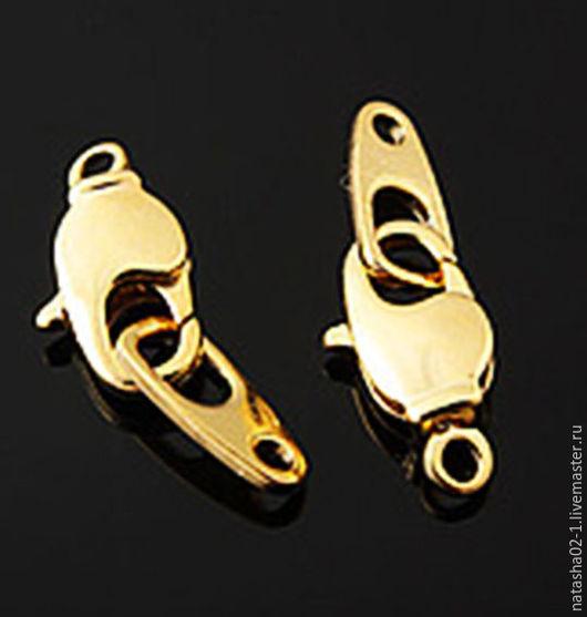 Для украшений ручной работы. Ярмарка Мастеров - ручная работа. Купить Замочек карабин 6 х 11.5 Gold plated   Южная Корея. Handmade.