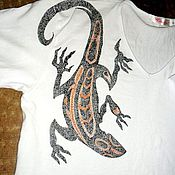 """Одежда ручной работы. Ярмарка Мастеров - ручная работа Мужская футболка """"Брутальный ящер"""". Handmade."""