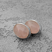 Украшения handmade. Livemaster - original item Rose QUARTZ CLASSIC earrings. Handmade.