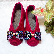 """Обувь ручной работы. Ярмарка Мастеров - ручная работа Тапочки-балетки женские """"Кокетка"""" вязаные крючком красные. Handmade."""