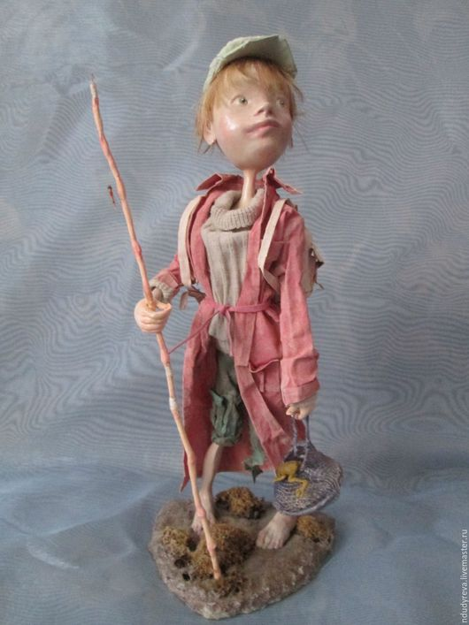 Коллекционные куклы ручной работы. Ярмарка Мастеров - ручная работа. Купить Юный рыбак. Handmade. Бежевый