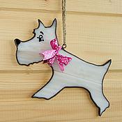 Для домашних животных, ручной работы. Ярмарка Мастеров - ручная работа Терьер Глаша витражная подвеска-собачка. Handmade.