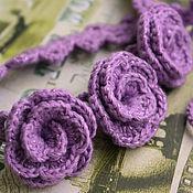 Аксессуары ручной работы. Ярмарка Мастеров - ручная работа Вязаная лента на голову с цветами. Handmade.