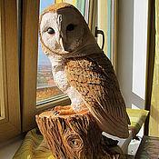 Для дома и интерьера ручной работы. Ярмарка Мастеров - ручная работа Сова Сипуха на пеньке - скульптура резная деревянная. Handmade.