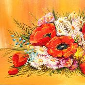 """Картины и панно ручной работы. Ярмарка Мастеров - ручная работа Картина маслом цветы """"Букет медовый с маками"""", картина маслом маки. Handmade."""