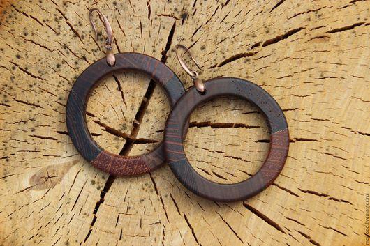 Серьги ручной работы. Ярмарка Мастеров - ручная работа. Купить Серьги из дерева. Handmade. Комбинированный, деревянные серьги