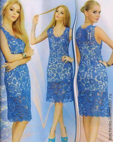 """Платья ручной работы. Ярмарка Мастеров - ручная работа. Купить Платье """"Морская волна"""". Handmade. Вязаное платье, тёмно-синий"""