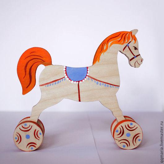 Игрушки животные, ручной работы. Ярмарка Мастеров - ручная работа. Купить Лошадка на колесах. Handmade. Рыжий, деревянная игрушка