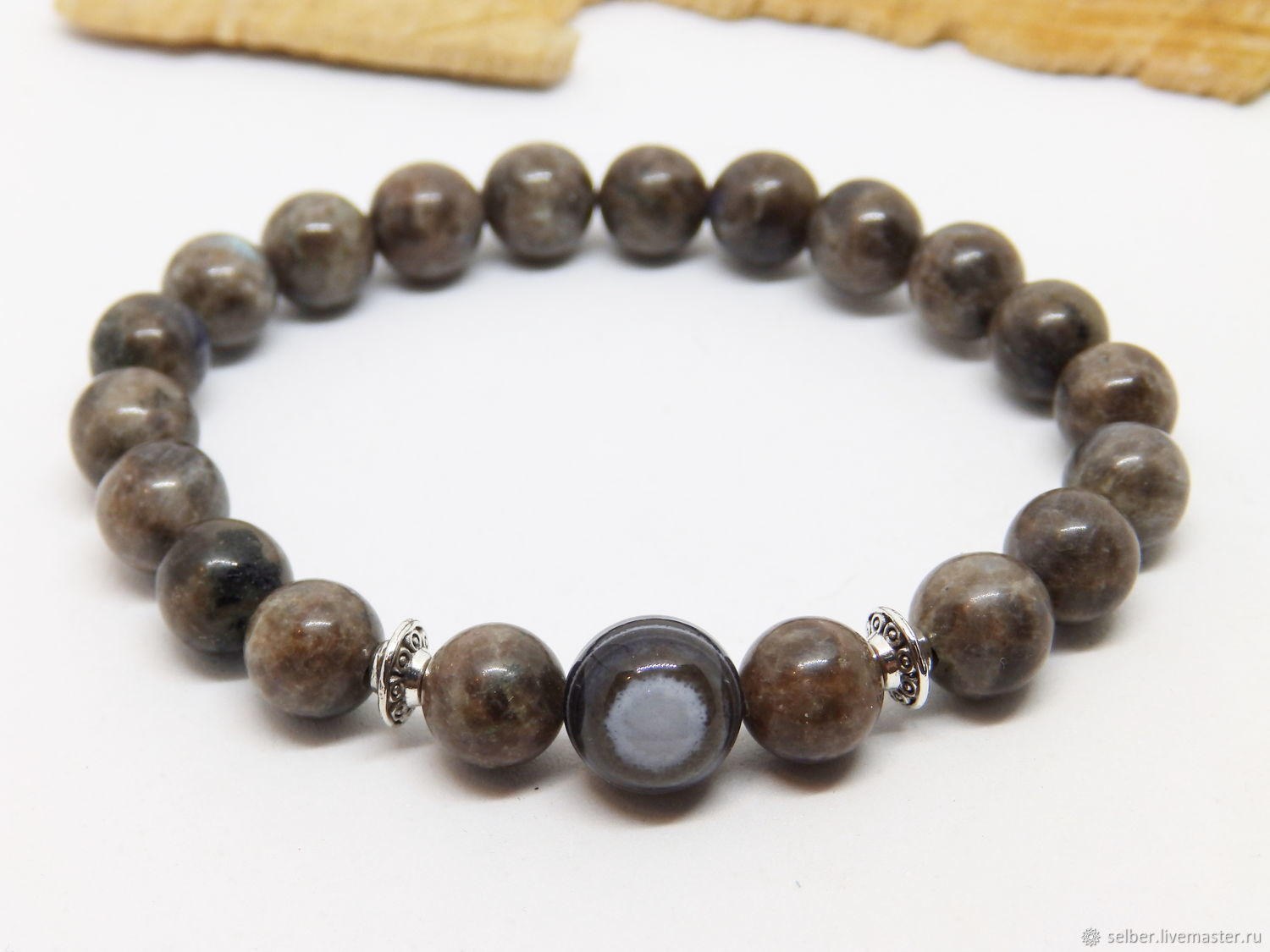 Bracelet made of brown labradorite and agate eye of the Witch, Bead bracelet, Gatchina,  Фото №1