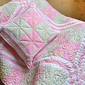 """Для дома и интерьера ручной работы. Ярмарка Мастеров - ручная работа """"Мятно-розовый букет"""" Одеяло детское. Наволочка. Комплект лоскутный. Handmade."""