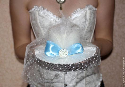 Одежда и аксессуары ручной работы. Ярмарка Мастеров - ручная работа. Купить Шляпка свадебная Стимпанк. Handmade. Белый, мини шляпка